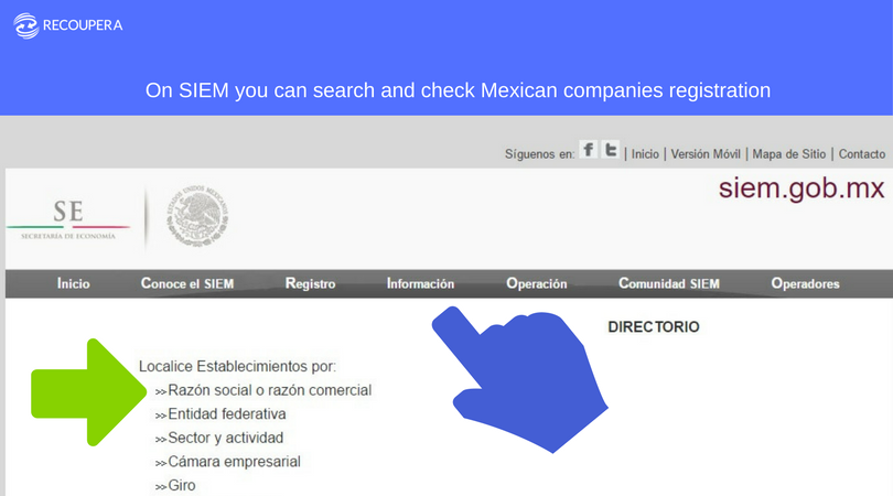 How to search Mexican companies registry by Recoupera